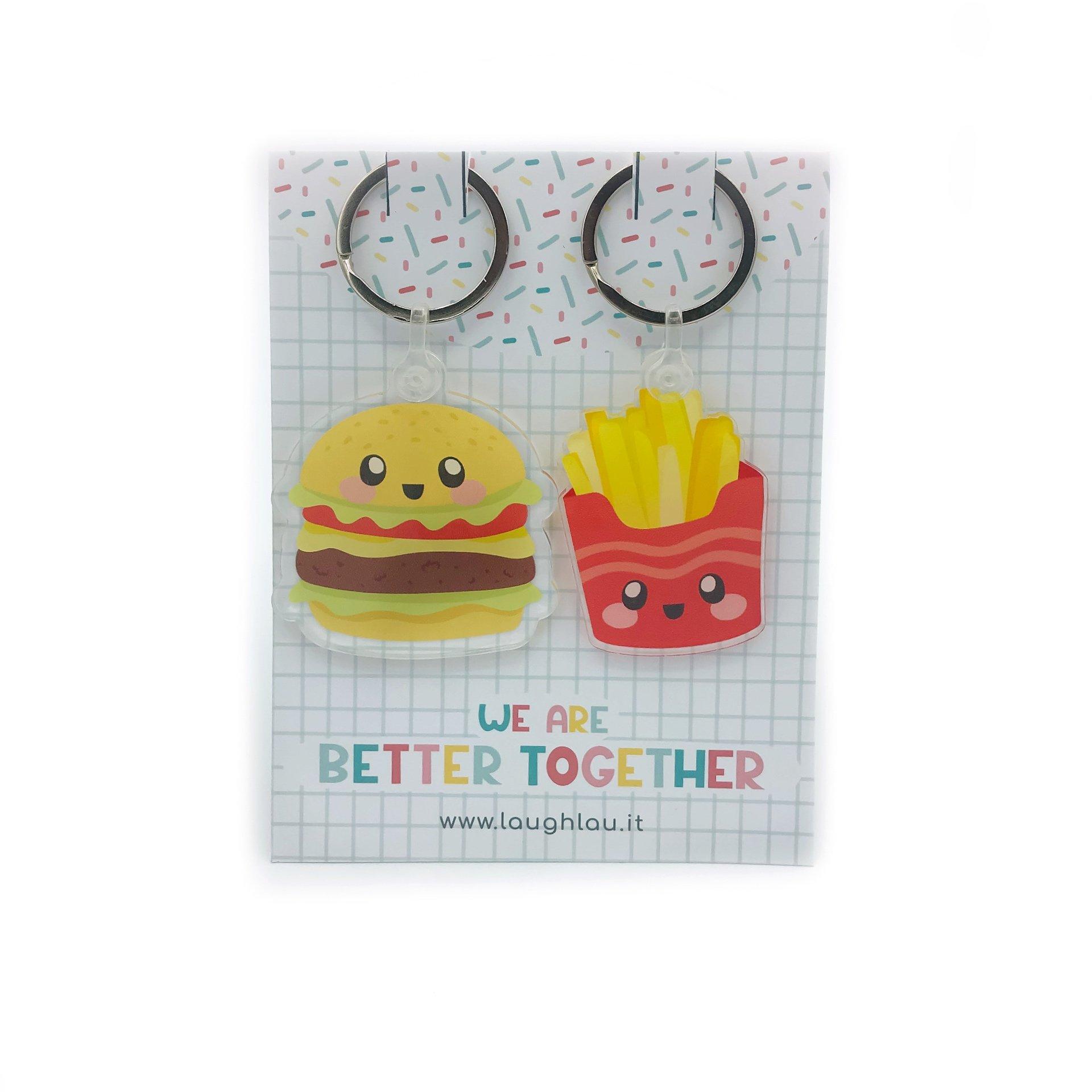 Portachiavi hamburger e patatine